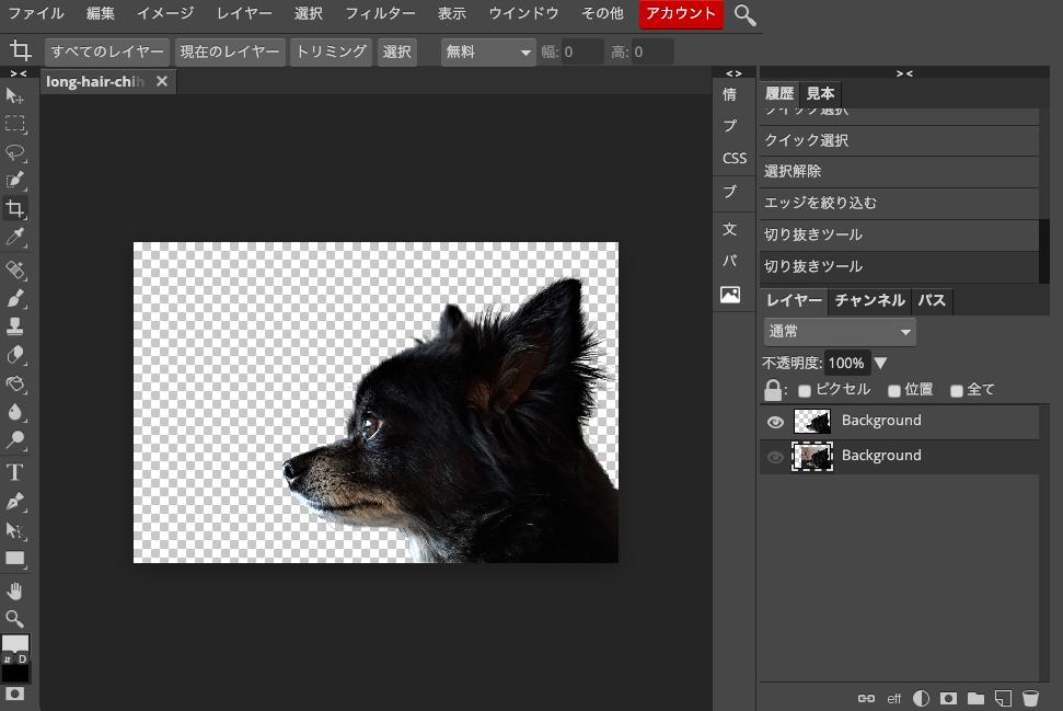 Photopea 切り取りツールで犬の画像を切り取り