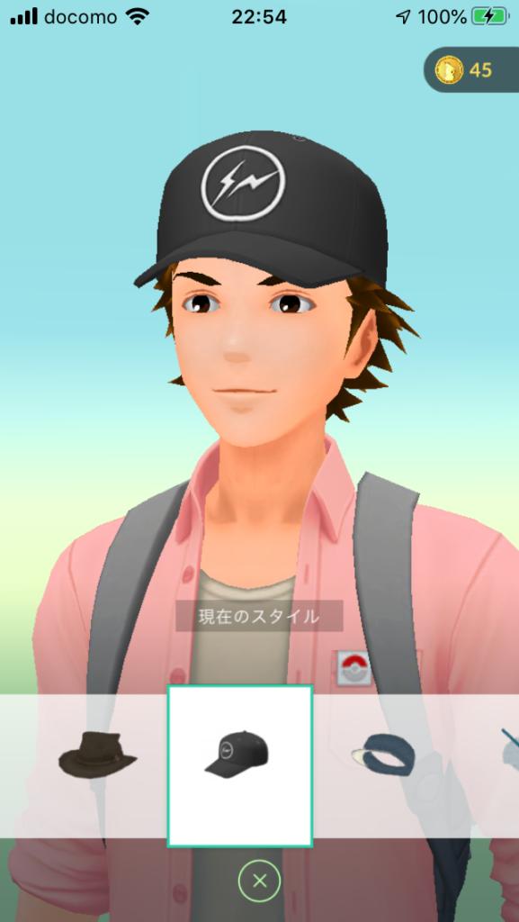 ポケモンGO 着せ替え画面 帽子