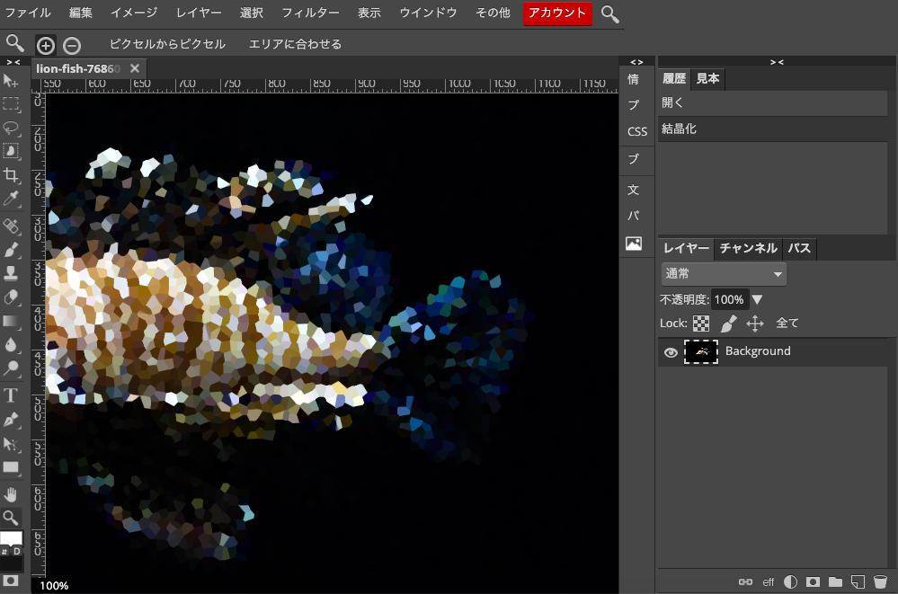 Photopea 結晶化後の写真を拡大してみてみる