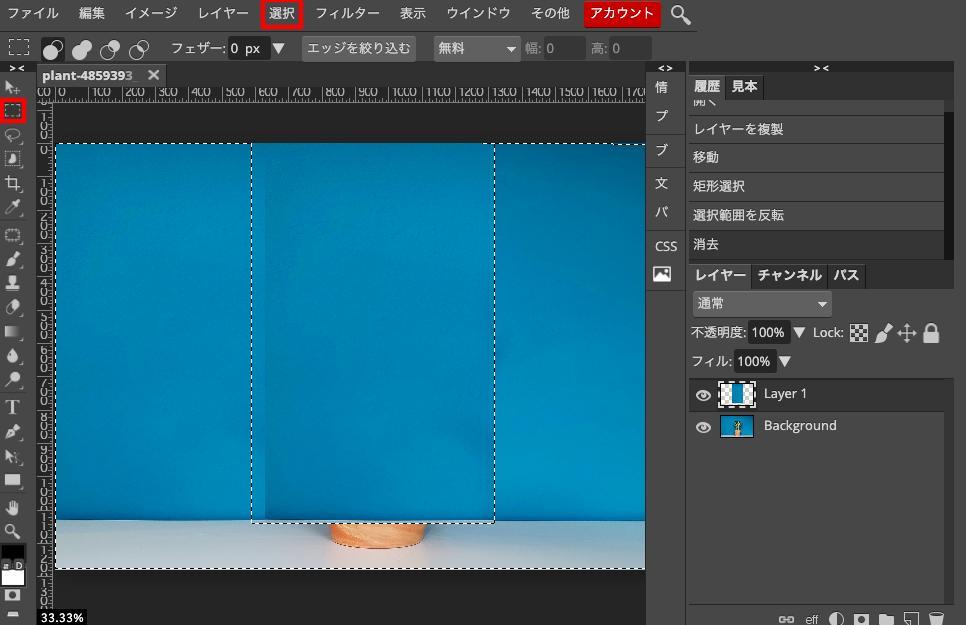 Photopeaでレイヤーを複製して矩形選択したあと選択範囲を反転させてdelete。