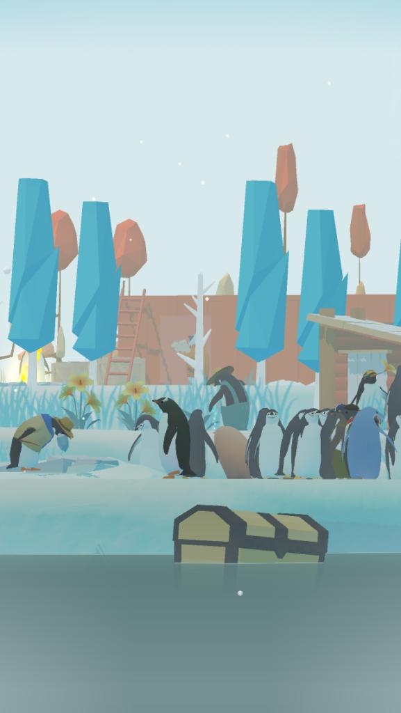 ペンギンの島の農家ペンギンとペンギンの群れ