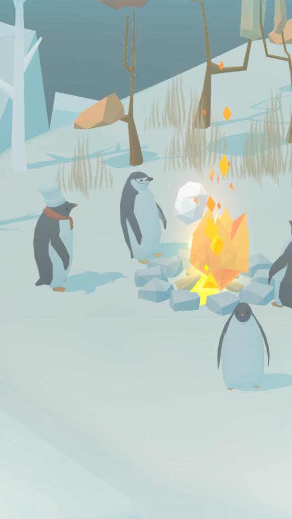 ペンギンの島で焚き火にあたるペンギン