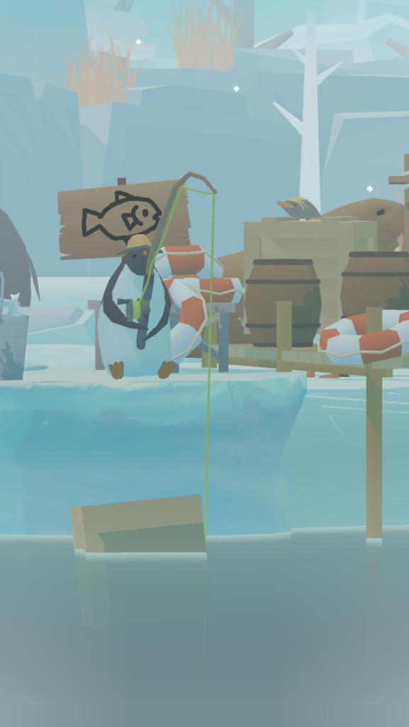ペンギンの島の釣りをするペンギン