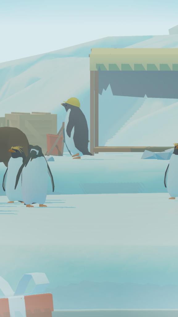 ペンギンの島のヘルメットをかぶったペンギン