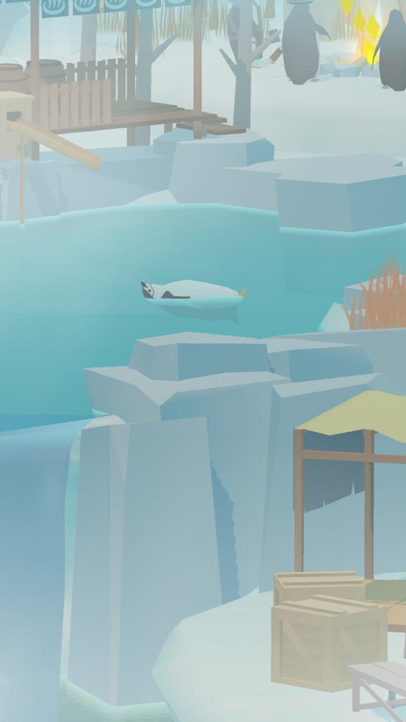 ペンギンの島で温泉を泳ぐペンギン
