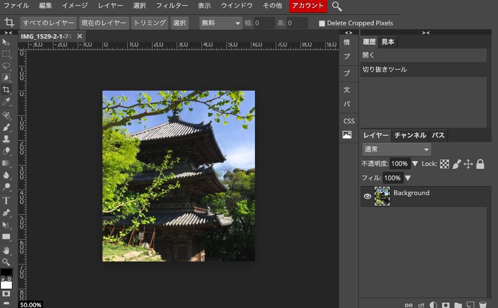 Photopeaで切り抜きツールで写真を切り抜く。