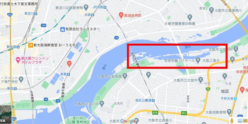Google Mapからの淀川のワンド群