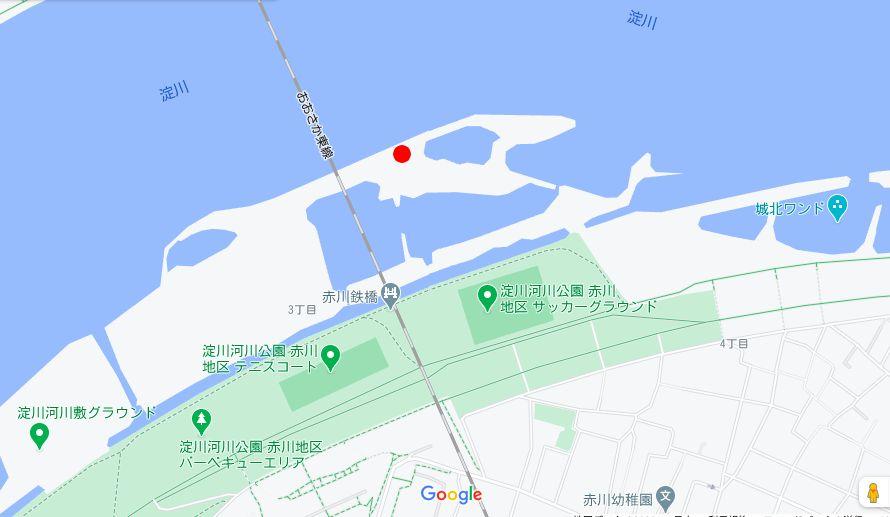 GoogleMapで見た淀川と釣りをした場所
