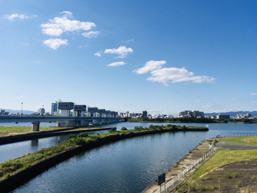 淀川毛馬水門からの景色