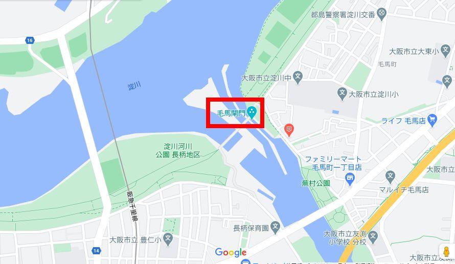 GoogleMap 毛馬水門