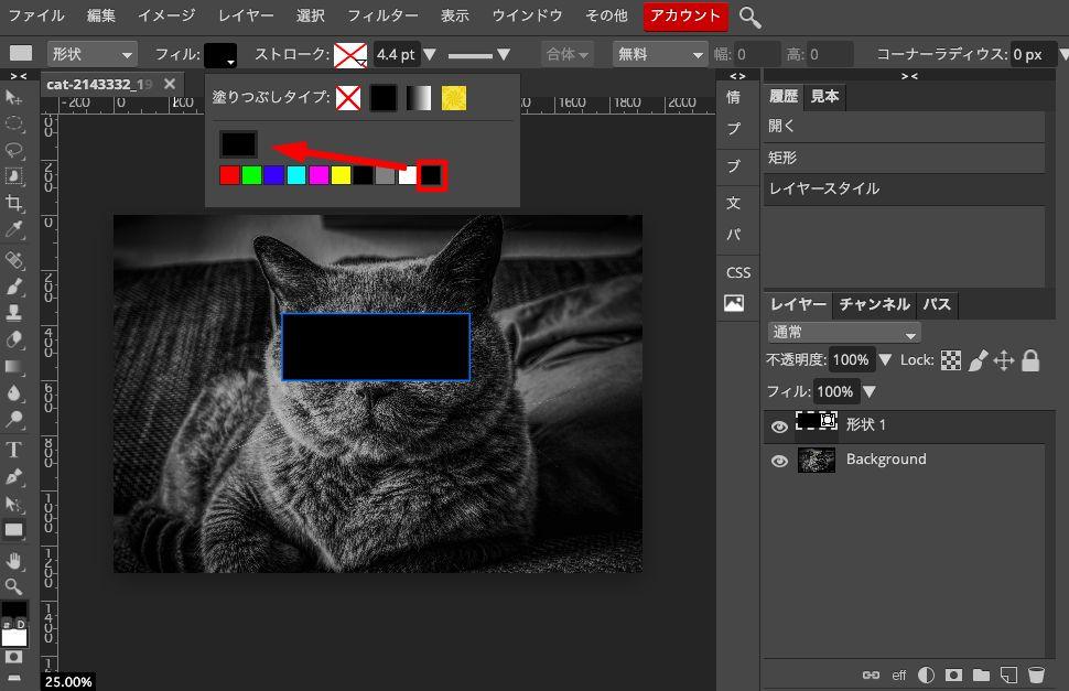 Photopeaのフィルのパレットから色を黒に変更