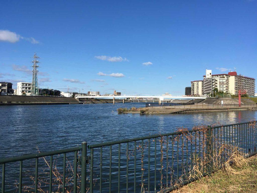 神崎川と安威川の合流地点
