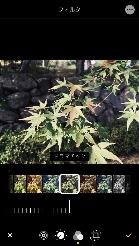 iPhone 写真アプリのフィルター効果のドラマチック