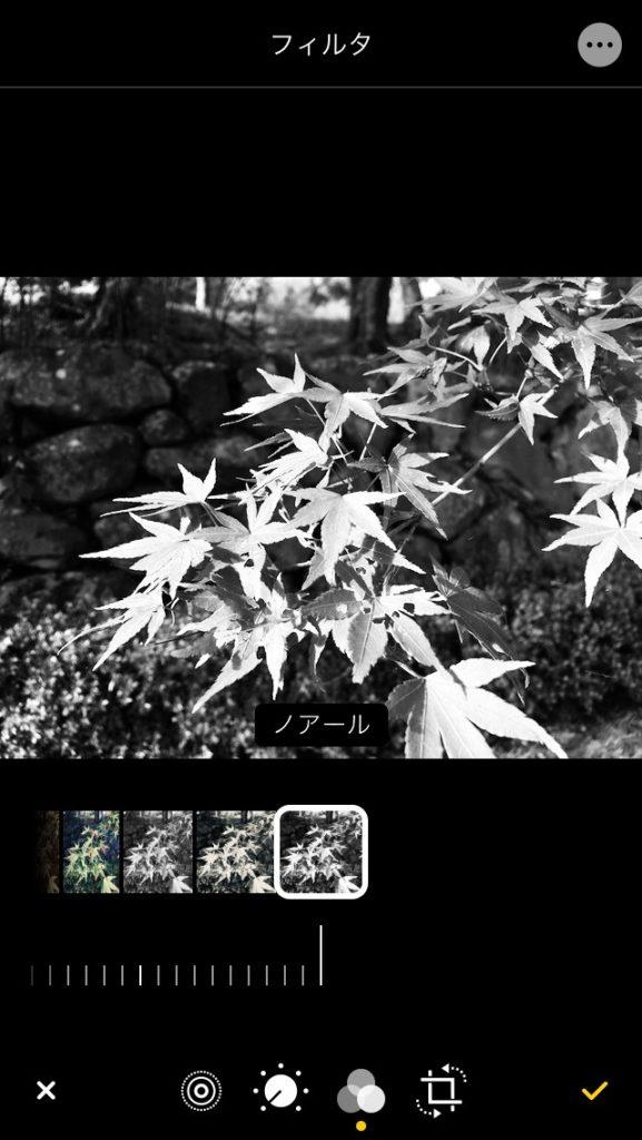 iPhone 写真アプリのフィルター効果のノアール