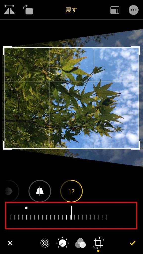 写真編集 写真の傾きを任意の角度に調整左右(X軸方向)