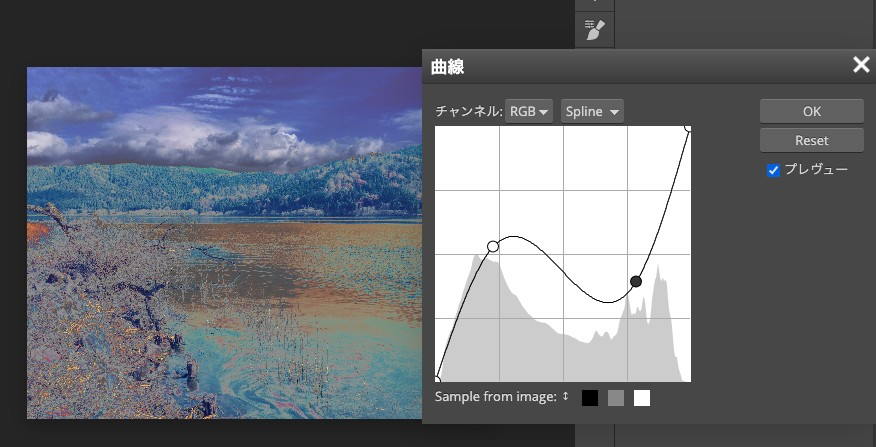 Photopeaの曲線の画面で写真のイメージを変更