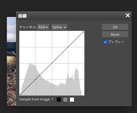 Photopeaの曲線の画面